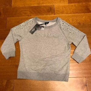 Bebe rhinestone logo pullover sweater S